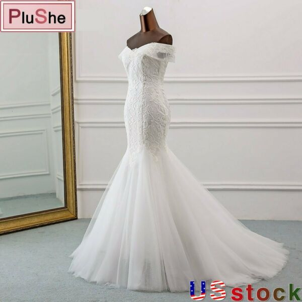 Boat Neck Sequined Lace Wedding Dress Beach Mermaid Gown Bride Dresses US8 24W