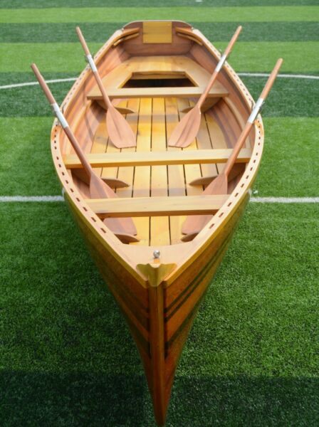 17Ft WHITEHALL DINGHY BOAT With 4 Oars 4-5 Person Cedar Strip Wood Watercraft