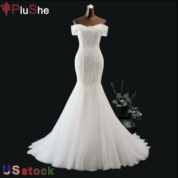 US Boat Neck Sequined Lace Wedding Dress Beach Mermaid Gown Bride Dresses 8 24W