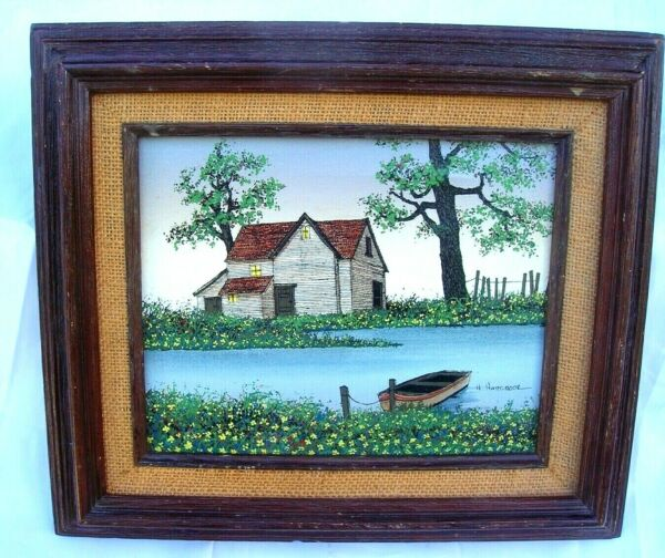 H.Hargrove Painting Framed 14x12 8 x 10 Canvas Farm On The Water With John Boat