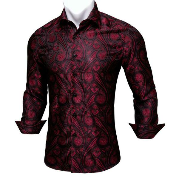 USA Mens Long Sleeve Shirt Button Up Smart Casual Slim Pailsey Red Dress Top
