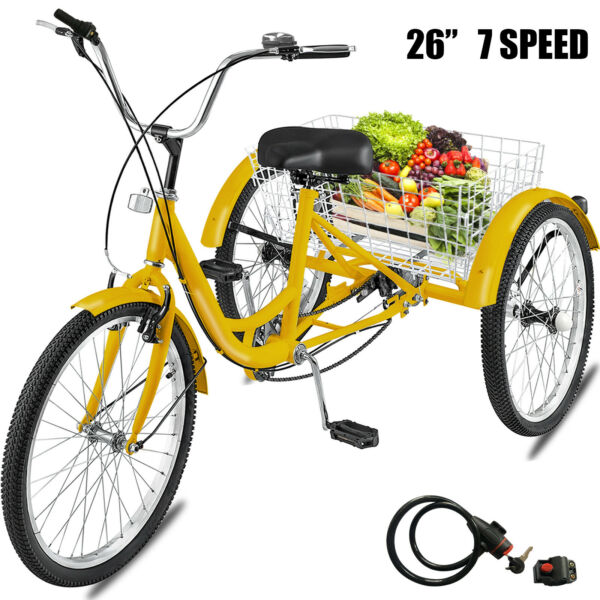 Adult Tricycle 26quot; 7 Speed 3 Wheel Shimano Trike Bicycle Bike Cruise With Basket $245.75