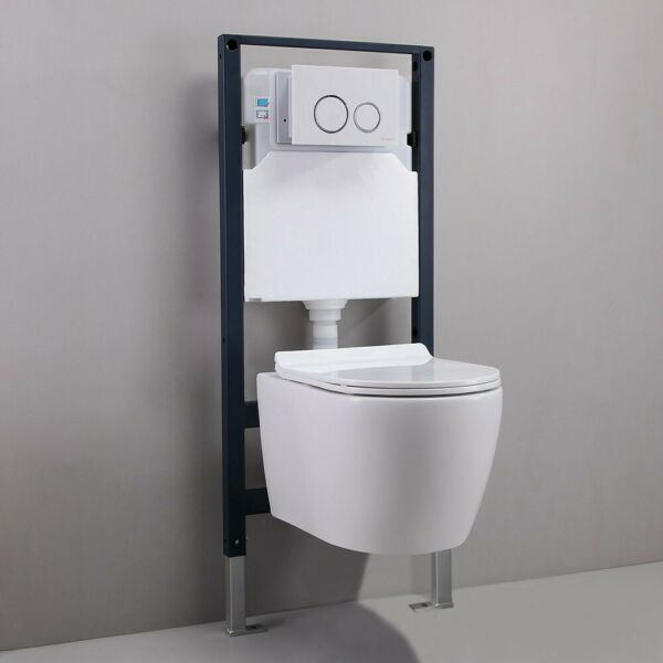 White Dual Flush Elongated Wall Hung Toilet Bath Carrier Systemamp;Tank Bowl Set $535.79