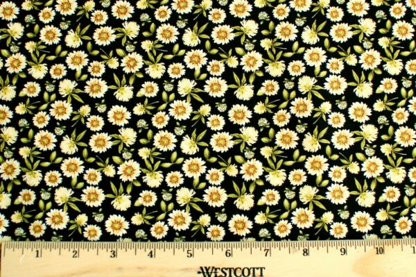 BTY*FACE MASKS*CALICO 100% COTTON FABRIC CLASSIC SUNFLOWER BLACK 1 YD 44X36