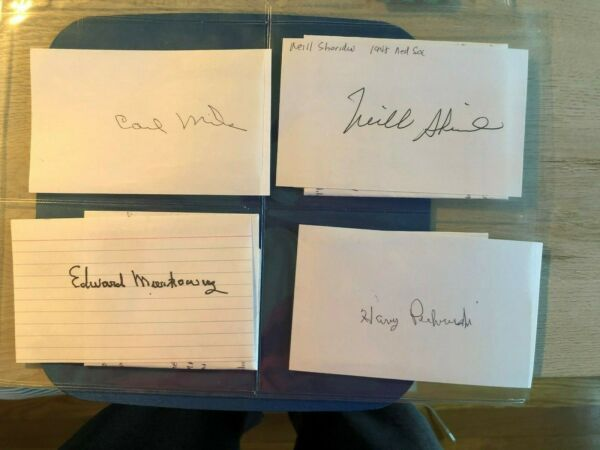 4 signed index cards of MLB Players from the 40's