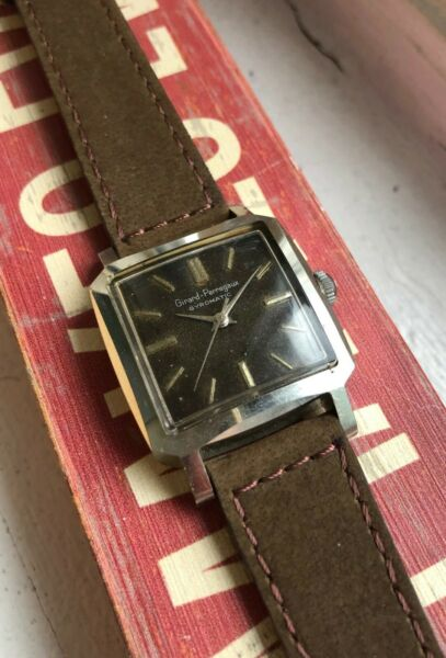 Vintage Girard Perregaux Gyromatic Automatic Steel Square Tropical Dial Watch $1,149.99