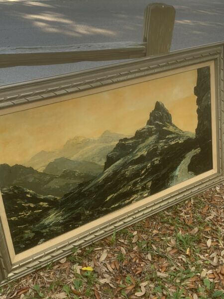 HUGE Original Charles Beauvais California Mid Century Oil Painting Of Mountains