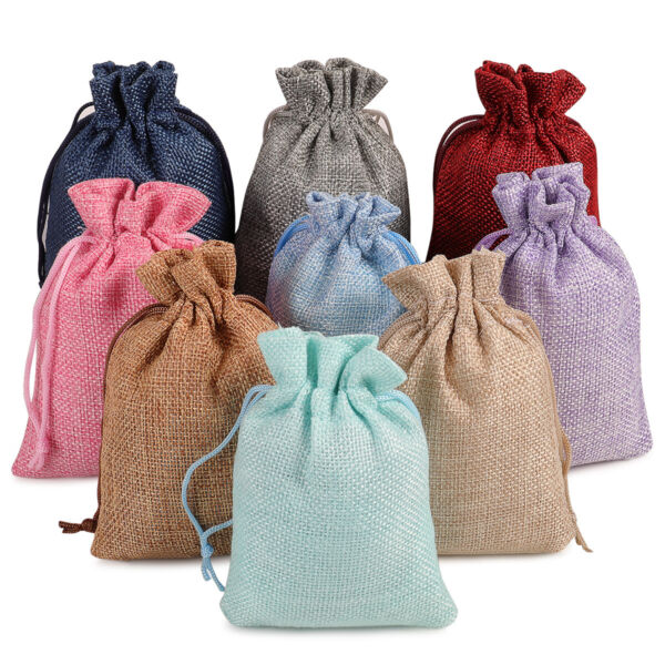 25 50 100 Burlap Bags Linen Jewelry Pouches Jute Hessian Gift Bag Wedding Favor $13.98