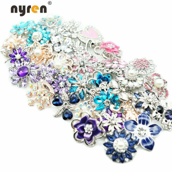 50pcs New Mix Rhinestone Snaps 18mm Metal Snap Button Fit 20mm Snap Jewelry 016