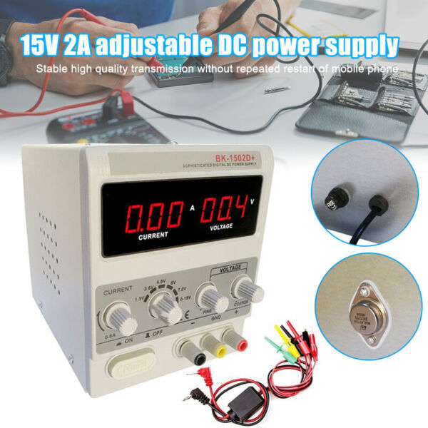 110V15V2A Adjustable DC Power Supply Variable Precision Dual Digital Lab Test