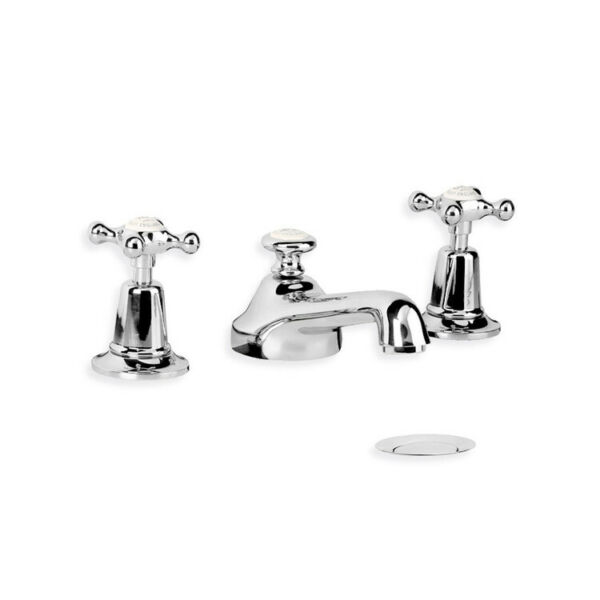 Lefroy Brooks 1900 Classic basin taps mixer with cross handles and pop-up waste