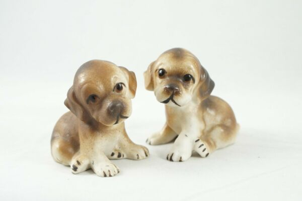 Vintage Ceramic Dogs Figurines Adorable Puppies Set of 2 Brown 2.25quot; Tall $14.50