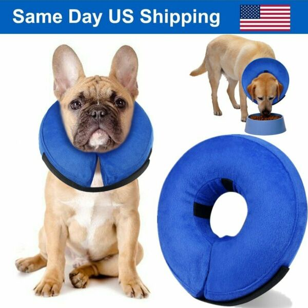 Blue M Size Soft Pet Inflatable Protective E Collar Cone for Dogs and Cats NEW $9.86