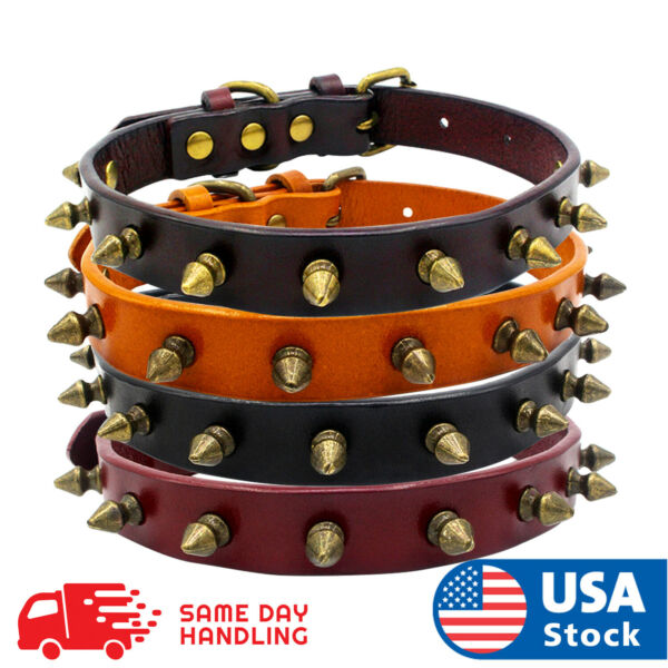 Spiked Studded Rivet Leather Dog Collar Pet Collar XS S M L $13.98