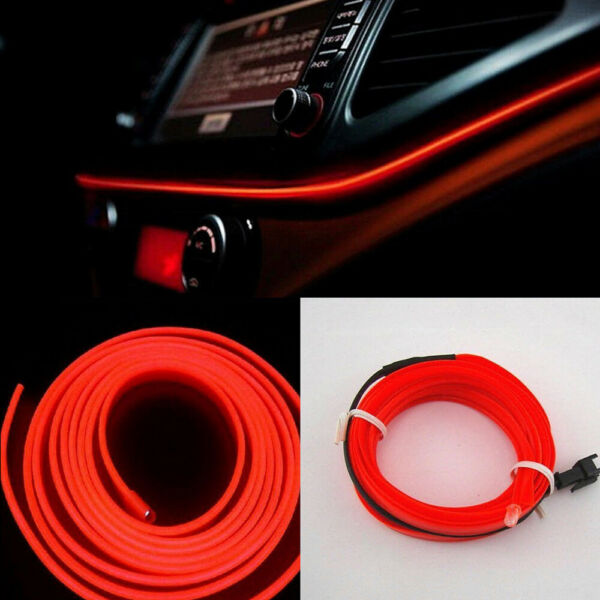 2M Red LED Car Interior Decor Atmosphere Wire Strip Light Lamp Car Accessories