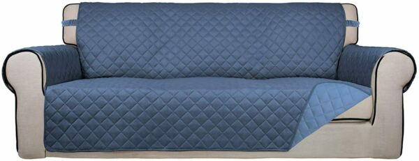 PureFit Reversible Quilted Slipcover Couch Cover Kids Dogs Pets Sofa Blue $29.91