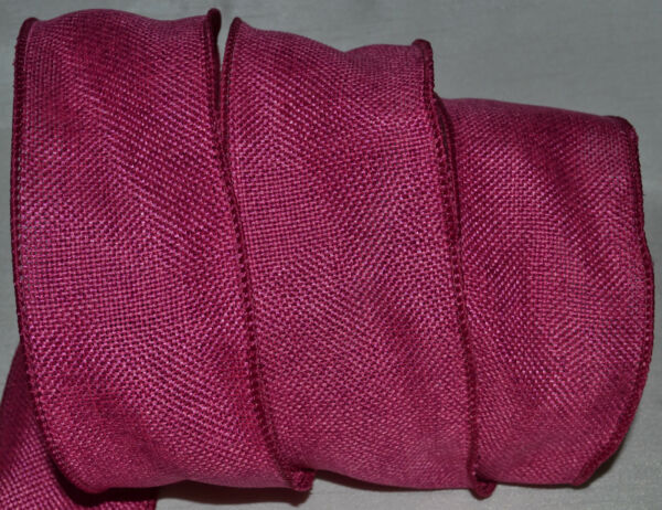 Wired Ribbon Rustic Dark Hot Pink Burlap Country Woven Primitive Wreath Gift Bow