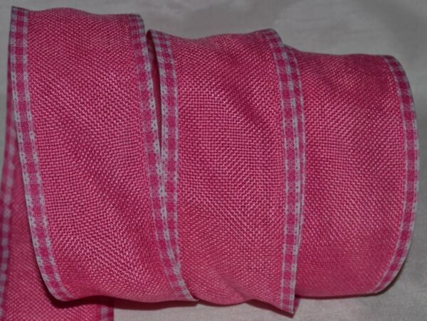 Wired Ribbon Rustic Dark Hot Pink Burlap Country Woven Check Edge 2.5quot; Primitive