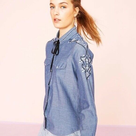 Ulla Johnson Willie Chambray Embroidered Blue Shirt Top Buttondown S NWT 201088