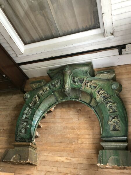 Circa 1900 French Green Tile Guimard Style Seven Section Art Nouveau Fireplace