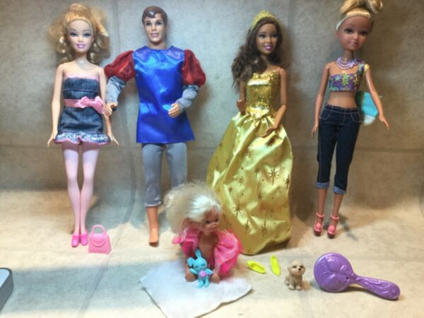 Barbie Lot Of 4 amp; clone Dressed Fashionista w Outfits shoes dog amp; purses $25.00