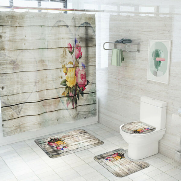 Shower Curtain Flower Wood Non Slip Toilet Polyester Cover Mat Set for Bathroom $34.99