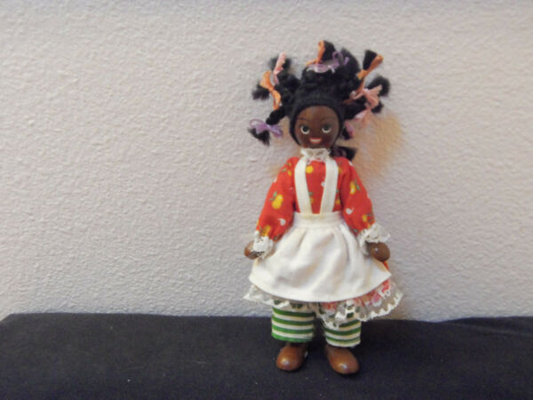 vintage wooden peg doll made in Poland from the 50's- jointed arms legs $15.00