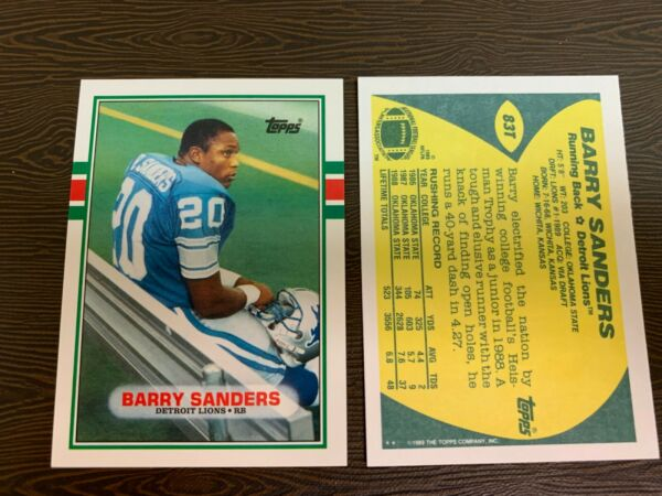 1989 Topps  Barry Sanders Rookie #83T Football Card MINT W DeionTroy