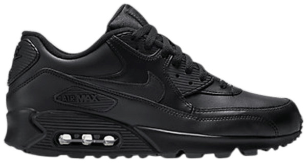 Nike Air Max 90 Leather Running Shoes Black/Black 302519-001 Men's Size 10.5-13