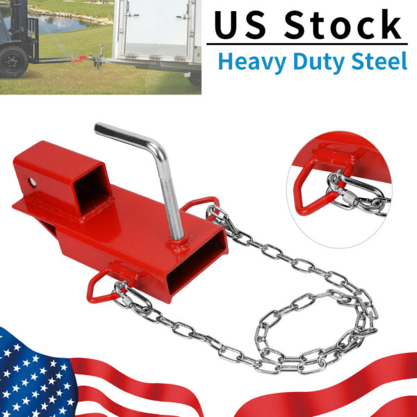 Clamp On Forklift Receiver Hitch Attachment w Chain Trailer Towing Adapter 2quot; $37.90