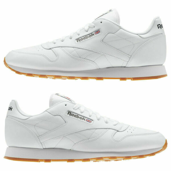 Reebok Classic Leather Shoes, White / Gum, Mens Size 9.5 & 10.5 Item 49797