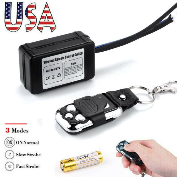 Wireless Remote Control ON Off Switch Strobe For LED Work Light Bar Offroad US