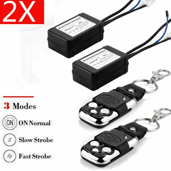 2X Wireless Remote Control Switch ON Off Strobe For LED Work Light Bar Offroad