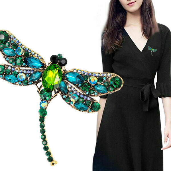 Women Delicate Crystal Rhinestone Dragonfly Brooch Enamel Pin Jewelry Gifts