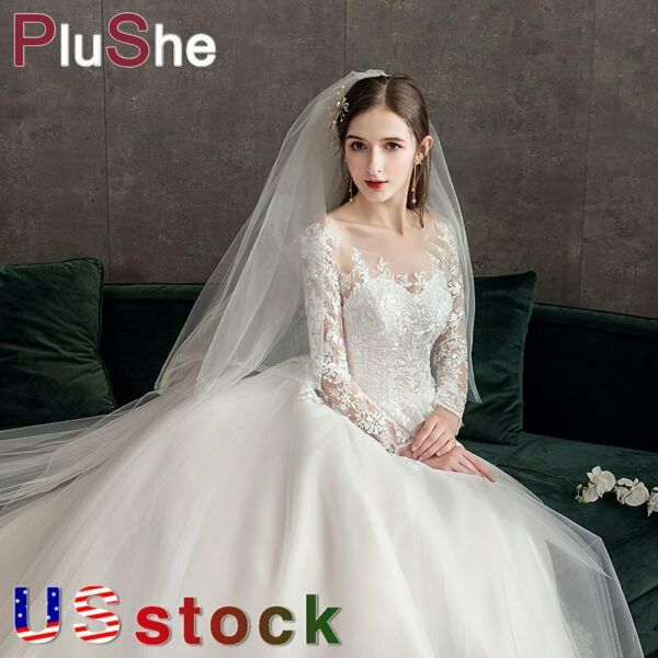 Long Sleeves Lace Wedding Dress Sweet Princess Appliques Ball Gown US Size 6 26W