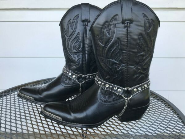 Womens SMOKY MOUNTAIN Black Cowgirl Boots w Tips Size 8M $32.00