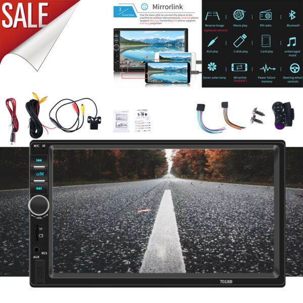 7quot; Double 2 DIN Car MP5 Player Bluetooth Touch Screen Stereo Radio With Camera