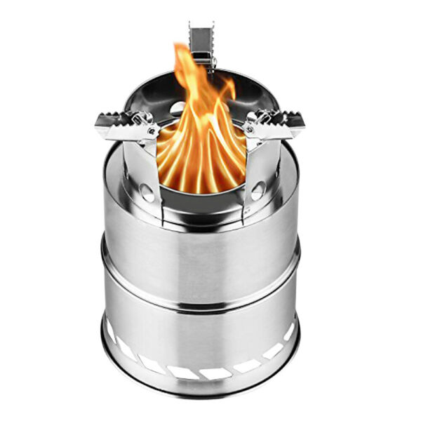 Upgraded 8quot; Camping Wood Stove Portable Stainless Steel w Solid Alcohol Plate