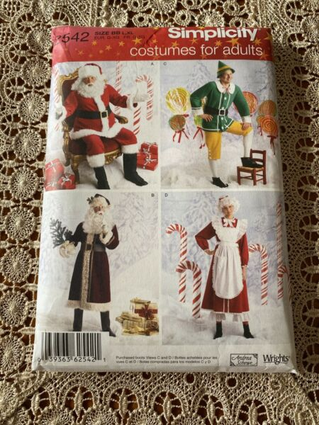 Simplicity 2542 from 2009 Santa Mrs. Claus Elf Costumes Sizes L XL UC FF