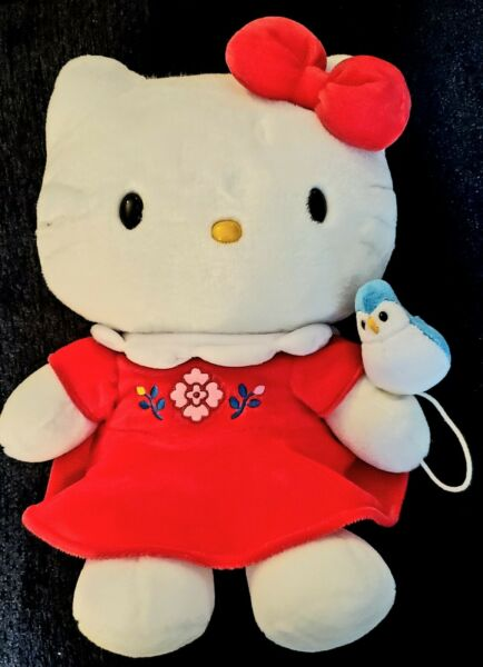 Vintage Sanrio Plush Hello Kitty stuffed 15quot; with bluebird on string 2001 RARE