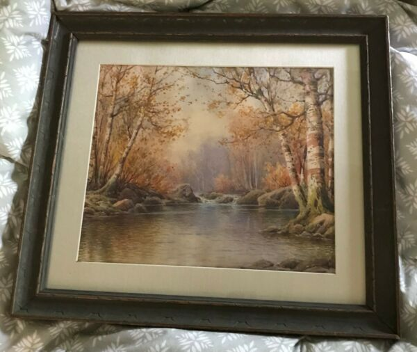 Well Listed William Paskell Watercolor Circa 1900 Forest Stream with Birches