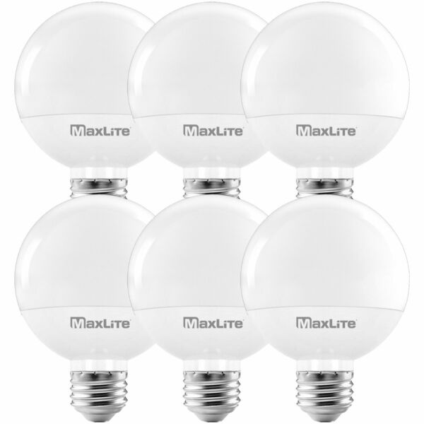 Maxlite G25 LED Globe Bulbs 40W Equivalent Vanity Mirror 2700K Dimmable 6-Pack