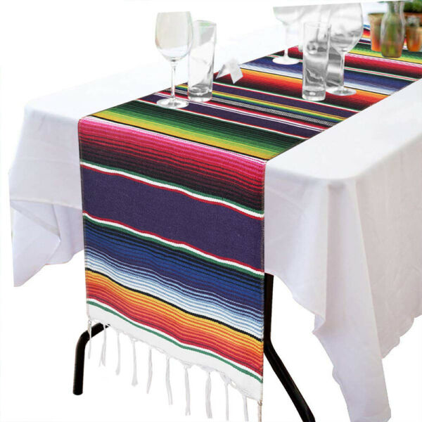 Mexican Table Runners Striped Serape Tablecloth for Wedding Fiesta Themed Party