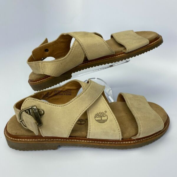 Timberland Sandals Women#x27;s 8 Beige Buckle Closure Leather Suede $29.95