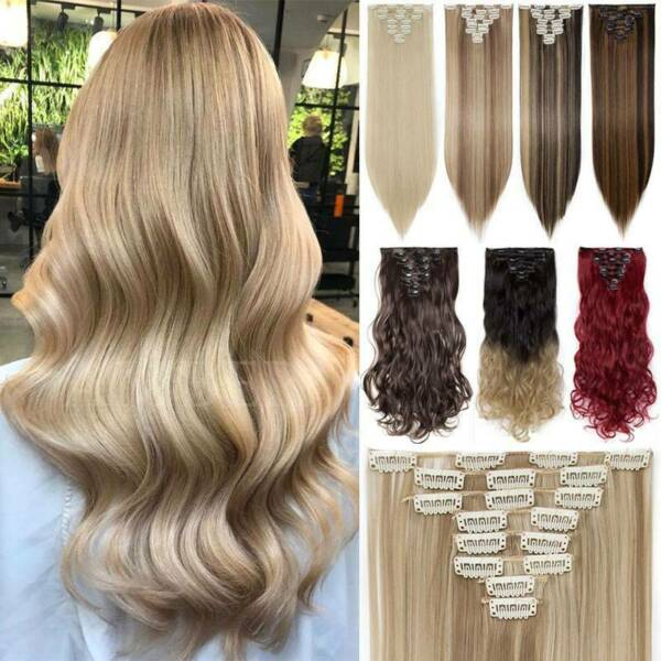 Real 100% Natural For Human Charming Full Head Hair Extension Clip In 8PCS Blond $12.59