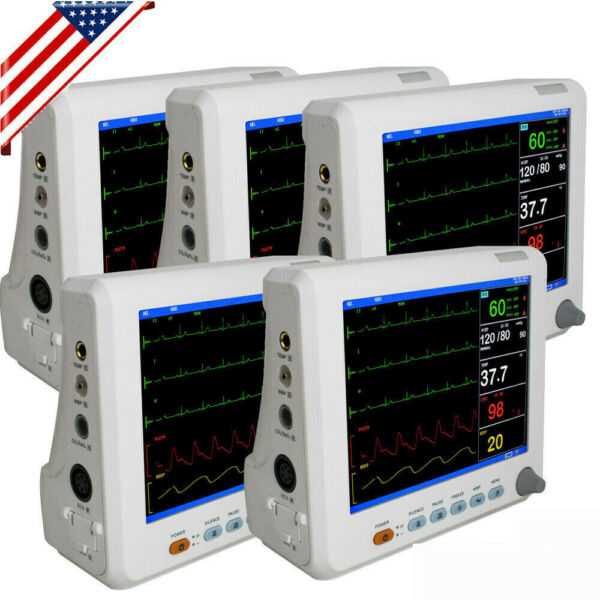 8inch Vital Signs Patient Monitor 6-parameter ICU Cardiac Monitoring  Machine US