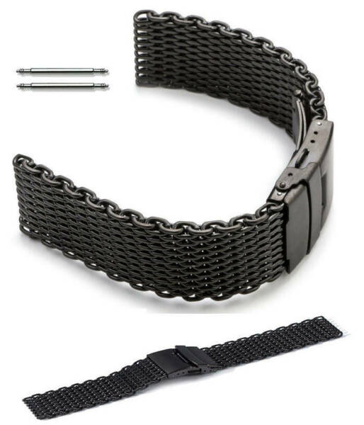 Black Steel Metal Shark Mesh Bracelet Watch Band Strap Double Locking Clasp 5032