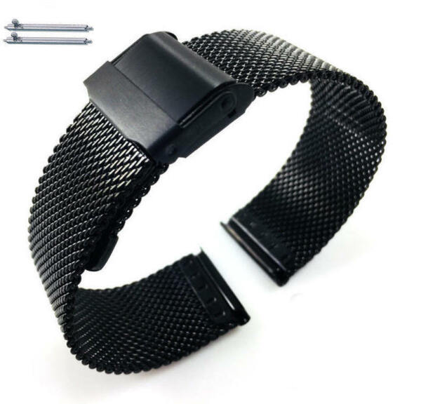 Black Steel Adjustable Mesh Bracelet Watch Band Strap Double Lock Clasp #5026