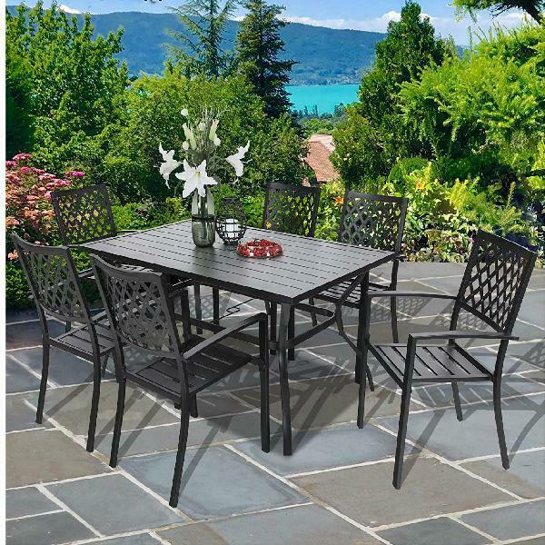 7 PC Outdoor Patio Rectangular Dining Set Black Metal Dining Table 6 Arm Chairs $919.99