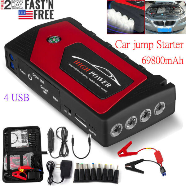 69800mAh LED Car Jump Start Starter 4 USB Charger Battery Power Bank Booster USA